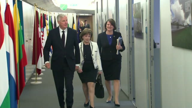 michel barnier meeting with arlene foster in the eu parliament building - dup stock-videos und b-roll-filmmaterial