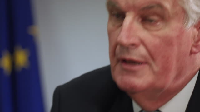 michel barnier saying we have to tell the truth leaving the eu has lots of consequences - finanzwirtschaft und industrie stock-videos und b-roll-filmmaterial