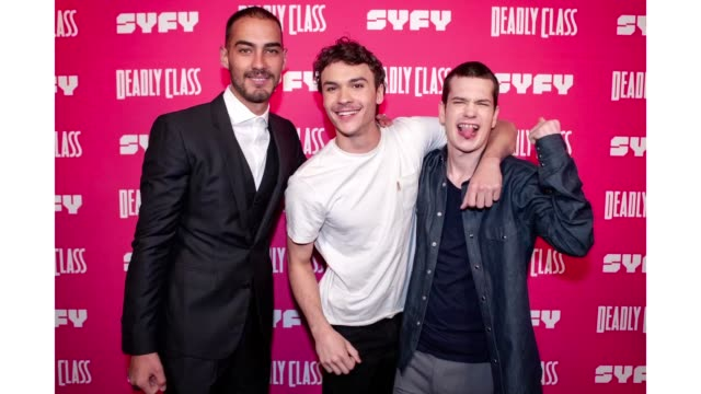 michel duval benjamin wadsworth and liam james attend the premiere week screening of syfy's deadly class hosted by kevin smith at the wilshire ebell... - wilshire ebell theatre stock videos & royalty-free footage