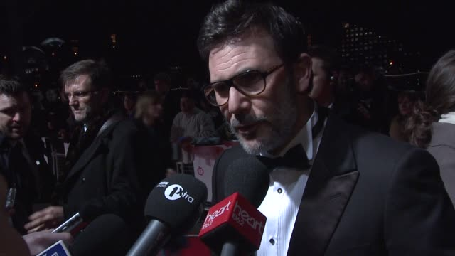 Michel Hazanavicious talking to media at 32nd London Critics' Circle Film Awards 2012 Red Carpet Arrivals at BFI Southbank on January 19 2012 in...