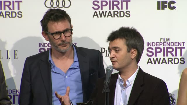 Michel Hazanavicius and Thomas Langmann on how it feels to win the Spirit Award at 2012 Film Independent Spirit Awards Press Room on 2/25/2012 in...