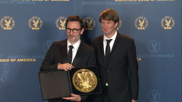 Michel Hazanavicius Tom Hooper at 64th Annual DGA Awards Press Room on 1/28/12 in Los Angeles CA