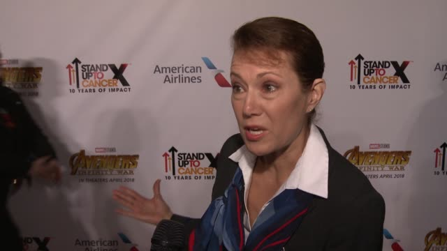 vídeos y material grabado en eventos de stock de interview michelle ballard on why was it important for you to be here today with american airlines stand up 2 cancer and marvel studios avenger... - infinito