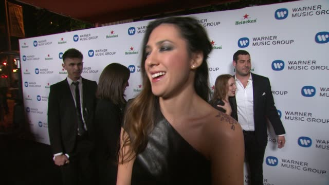 vídeos de stock, filmes e b-roll de interview michelle branch on being at the event and on what she's working on currently at warner music group 2014 grammy celebration at sunset tower... - michelle branch