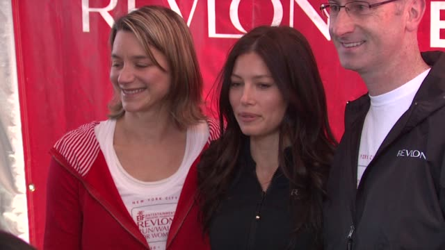 michelle ennisjessica biel and alan ennispresident and ceo of revlon at the 14th annual entertainment industry foundation revlon run/walk for women... - revlon stock videos and b-roll footage