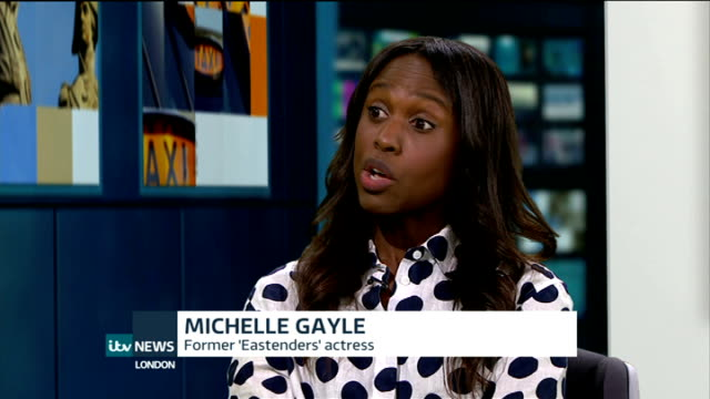 michelle gayle criticises eastenders as being 'too white' england london int michelle gayle live studio interview sot - eastenders stock videos & royalty-free footage