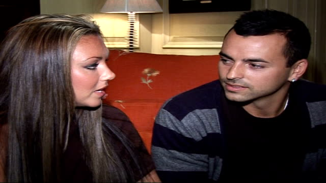 michelle heaton and andy scott lee interview england london int michelle heaton and andy scottlee interview sot talks about their wedding had wedding... - stag night stock videos & royalty-free footage