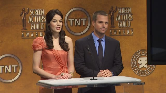 michelle monaghan and chris o'donnell announce the 16th annual screen actors guild awards nominations at the 16th annual screen actors guild awards... - michelle monaghan stock videos & royalty-free footage