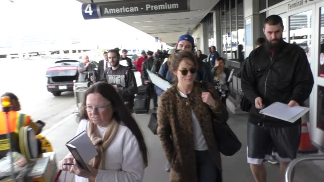 michelle monaghan departing at lax airport in los angeles in celebrity sightings in los angeles - michelle monaghan stock videos & royalty-free footage