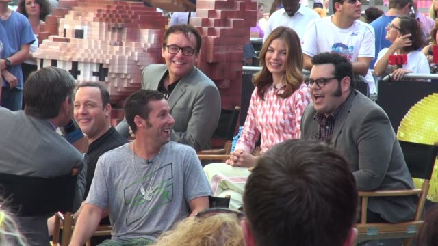 michelle monaghan josh gad chris columbus kevin james adam sandler and lara spencer outside the set of the 'good morning america' show in celebrity... - michelle monaghan stock videos & royalty-free footage