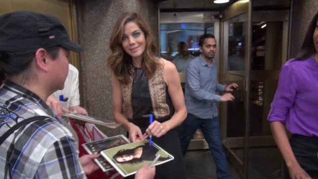 michelle monaghan leaving nbc studios signs for fans in celebrity sightings in new york - michelle monaghan stock videos & royalty-free footage