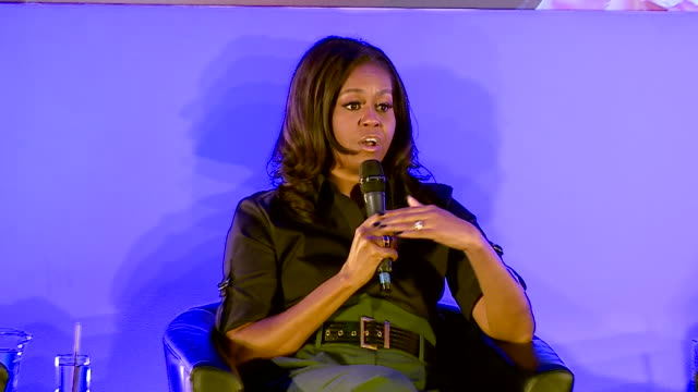 vídeos de stock e filmes b-roll de michelle obama at elizabeth garrett anderson school says we as women don't have the luxury of tearing each other down our job as women is to lift... - primeira dama
