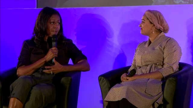 michelle obama revisits elizabeth garrett anderson school in london as she promotes her autobiography; england: london: islington: elizabeth garrett... - autobiography stock videos & royalty-free footage