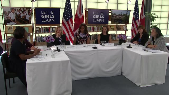 michelle obama roundtable discussion round table with michelle obama justine greening mp nicky morgan mp and others in discussion over let girls... - round table discussion stock videos & royalty-free footage