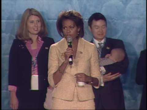 michelle obama speaks before her husband's acceptance speech upon election as u.s. senator from illinois in 2004. - 2004 stock videos & royalty-free footage
