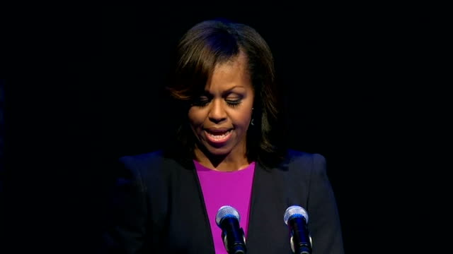 michelle obama visits gaiety theatre in dublin; michelle obama speech sot speech ends and applause - gaiety theatre stock videos & royalty-free footage