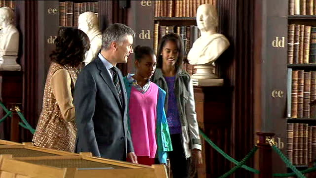 michelle obama visits trinity college dublin during private visit ****flash dublin trinity college int us first lady michelle obama and her daughters... - dublin republic of ireland stock videos & royalty-free footage