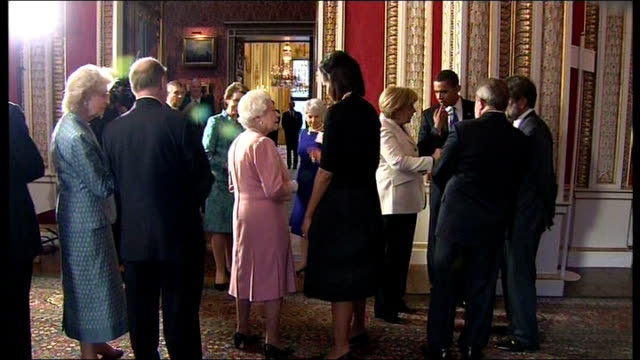 int michelle obama chatting with queen elizabeth queen elizabeth ii speaking to michelle obama sot suggests they keep in touch 'it will be nice' - elizabeth ii stock videos & royalty-free footage