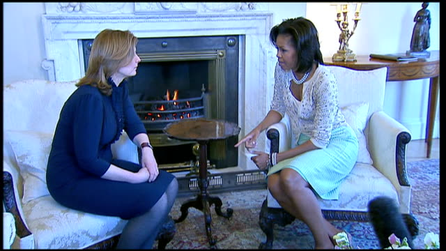 michelle obama wows london michelle obama sitting chatting with sarah brown - gingham stock videos & royalty-free footage