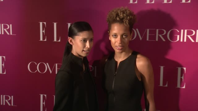 michelle ochs and carly cushnie at 4th annual elle women in music celebration arrivals at the edison ballroom on april 10 2013 in new york new york - edison ballroom stock videos & royalty-free footage