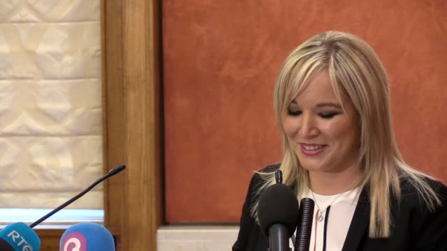 michelle o'neill press conference as she is announced as the new sinn fein leader, following the resignation of martin mcguinness. - quitting a job stock videos & royalty-free footage