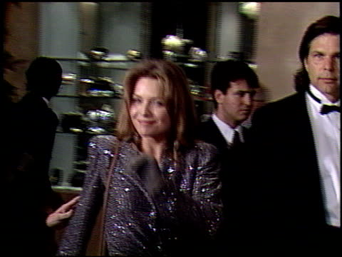 michelle pfeiffer at the 1991 golden globe awards at the beverly hilton in beverly hills california on january 19 1991 - michelle pfeiffer stock videos & royalty-free footage