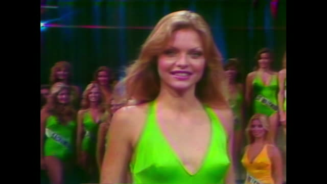 michelle pfeiffer miss photogenic at miss california beauty pageant 1978 miss california international beauty pageant 1978 michelle pfeiffer wins... - swimwear stock videos & royalty-free footage
