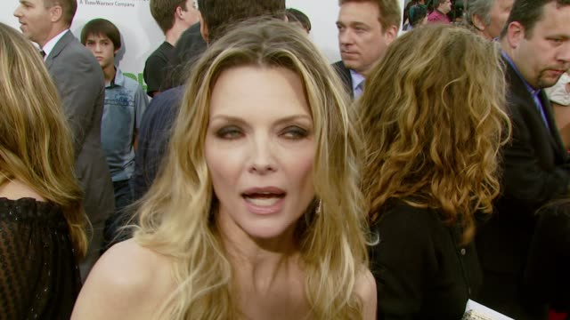 michelle pfeiffer on her character and on how she worked on the role at the 'hairspray' los angeles premiere at the mann village theatre in westwood... - michelle pfeiffer stock videos & royalty-free footage