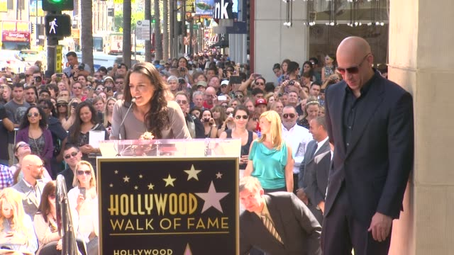 speech michelle rodriguez on her close friendship with vin diesel and how proud she is of him at vin diesel honored with star on the hollywood walk... - vin diesel stock videos and b-roll footage