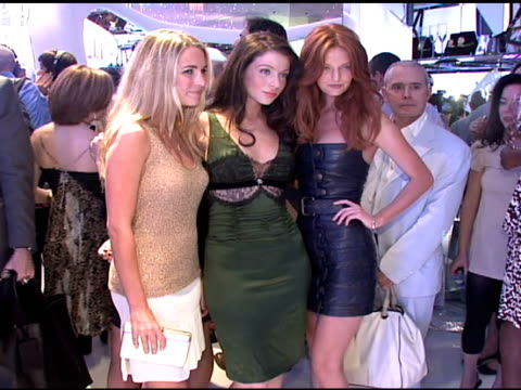 michelle trachtenberg, lydia hearst , and guest at the cavalli ny flagship store launch at cavalli flagship store in new york, new york on september... - ミシェル・トラクテンバーグ点の映像素材/bロール