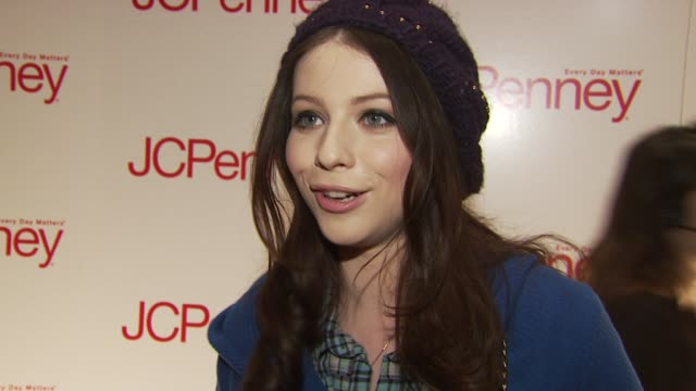 michelle trachtenberg talks about what brought her out to the jcpenney event, her support for her friend charlotte ronson at the jcpenney discover... - michelle trachtenberg stock videos & royalty-free footage