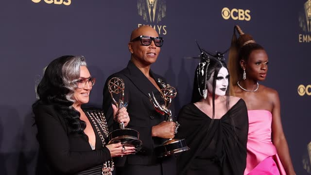 michelle visage, rupaul, gottmik and symone, winners of the outstanding competition program award for 'rupaul's drag race,' pose in the press room... - emmy awards stock videos & royalty-free footage