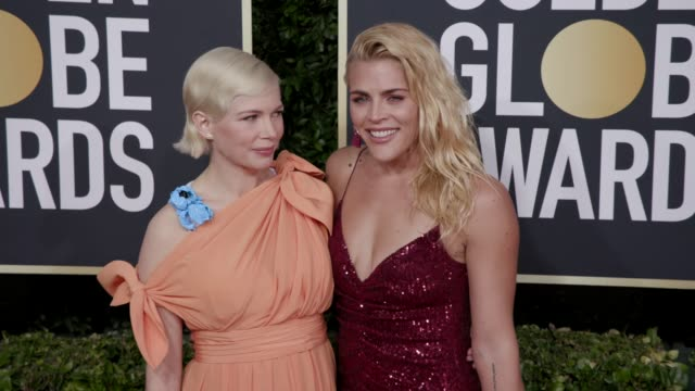 michelle williams and busy philipps at 77th annual golden globe awards at the beverly hilton hotel on january 05, 2020 in beverly hills, california. - golden globe awards stock videos & royalty-free footage