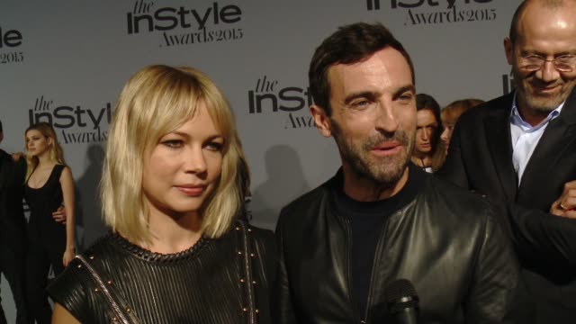 vídeos de stock, filmes e b-roll de interview michelle williams nicolas ghesquiere on being at the event what she wears at instyle presents the inaugural 'instyle awards' october 26... - michelle williams