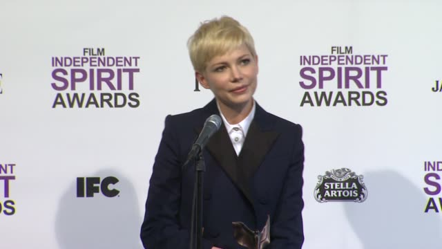 michelle williams on what it means to win at 2012 film independent spirit awards press room on 2/25/2012 in santa monica ca - independent feature project stock videos and b-roll footage