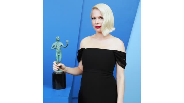 michelle williams, winner of the outstanding performance by a female actor in a television movie or miniseries award for 'fosse/verdon,' poses in the... - shrine auditorium stock videos & royalty-free footage