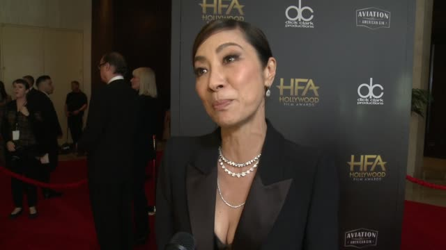 INTERVIEW Michelle Yeoh on some of the most exciting aspects of the Hollywood Film Awards at the 22nd Annual Hollywood Film Awards at The Beverly...