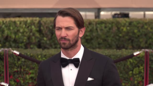 michiel huisman at the 22nd annual screen actors guild awards - arrivals at the shrine auditorium on january 30, 2016 in los angeles, california. 4k... - shrine auditorium stock videos & royalty-free footage