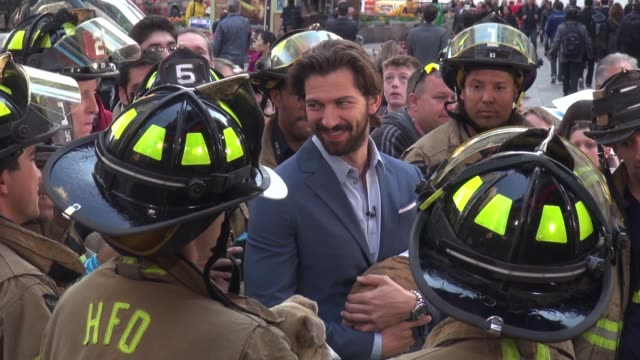 michiel huisman at the good morning america show, signs and poses for photos with fans in celebrity sightings in new york, - ridge stock videos & royalty-free footage