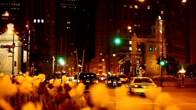 michigan avenue bridge by night , chicago downtown ( hd 1080p) - michigan avenue bridge stock videos and b-roll footage