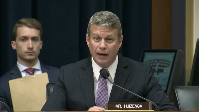 Michigan Congressman Bill Huizenga questions former Equifax CEO Richard Smith at an oversight hearing of the House Financial Services Committee into...