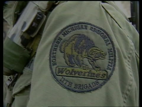 ext militia members on parade patch on sleeve of uniform of militia member tilt up militia members talking as others file off in b/g militia members... - sleeve stock videos & royalty-free footage
