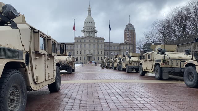 michigan national guard rearrange outside the michigan state capitol in lansing, mi, u.s., on sunday, jan. 17, 2021. a bulletin this week from the... - lansing stock videos & royalty-free footage