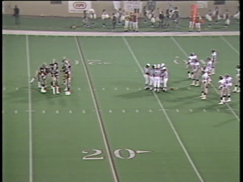 1984 montage ha ws michigan panthers in huddle as pittsburgh maulers stand by on field with referees/ ms michigan panthers/ pontiac, michigan - pontiac stock videos and b-roll footage