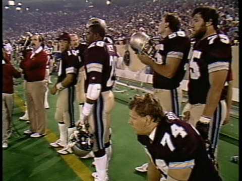 1984 ms michigan panthers players ray pinney, tom osbun, ken lacy, and wayne radloff in sidelines before game against pittsburgh maulers/ pontiac, michigan - pontiac stock videos and b-roll footage