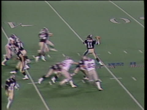 1984 ha ws pan michigan panthers quarterback bobby hebert throwing pass intercepted by ron freeman of usfl team pittsburgh maulers and parlayed to teammate dan short, who runs with ball into end zone and scores touchdown in second quarter / pontiac, michi - intercepting stock videos and b-roll footage