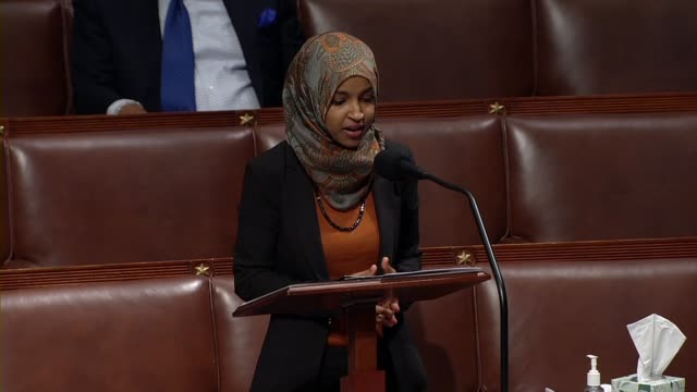 michigan representative ilhan omar says in debate on the cares act to deal with economic and health care aspects of the coronavirus outbreak that she... - disegno di legge video stock e b–roll