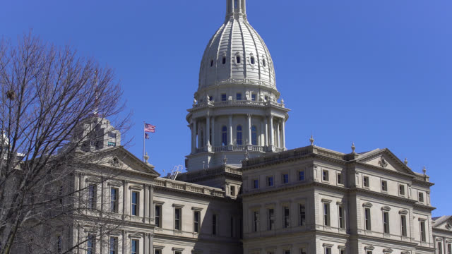 michigan state capitol building - lansing stock videos & royalty-free footage
