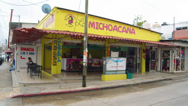 michoacana ice cream shop at palenque mexico - mexican ethnicity stock videos & royalty-free footage