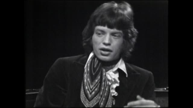 """mick jagger, speaking in 1967, on his reasons and motivation behind wanting to perform on stage: """"it really helps me to get rid of my ego..."""" - rolling stones stock videos & royalty-free footage"""